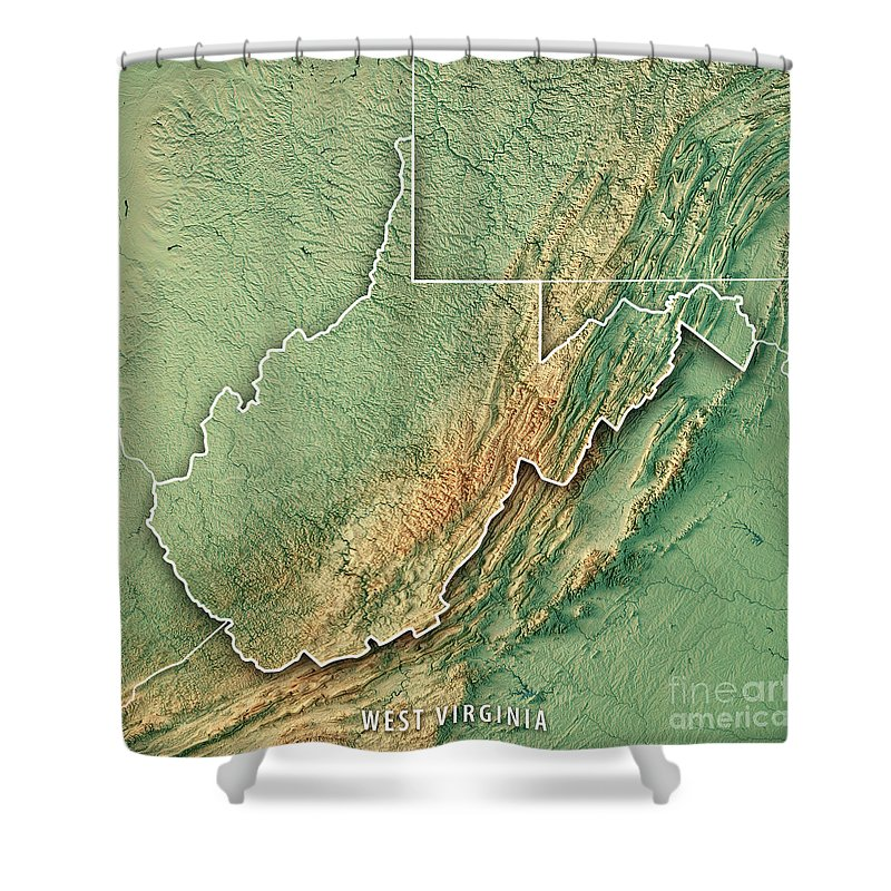 Topographic Map West Virginia.West Virginia State Usa 3d Render Topographic Map Shower Curtain For