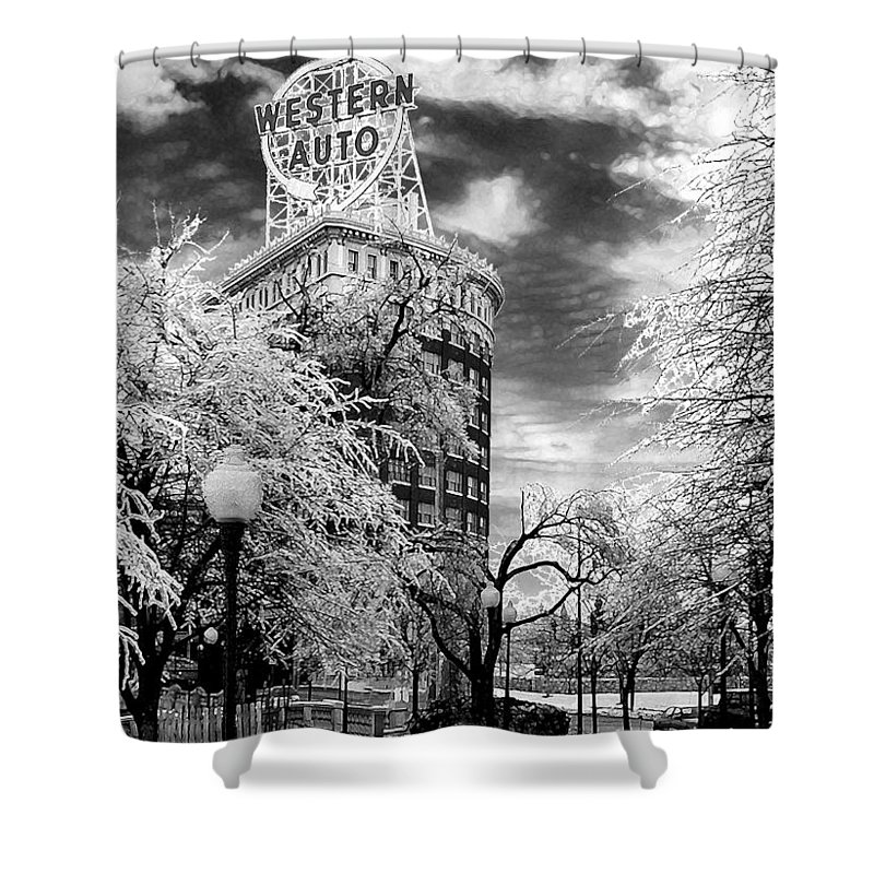Western Auto Kansas City Shower Curtain featuring the photograph Western Auto In Winter by Steve Karol