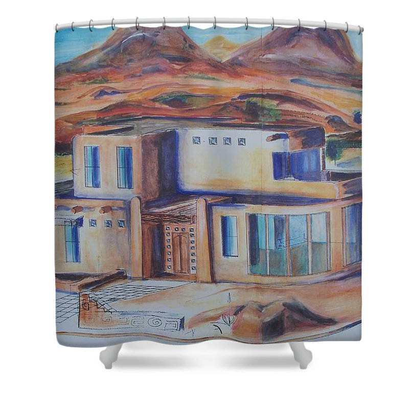 Floral Shower Curtain featuring the painting Western Home Illustration by Eric Schiabor
