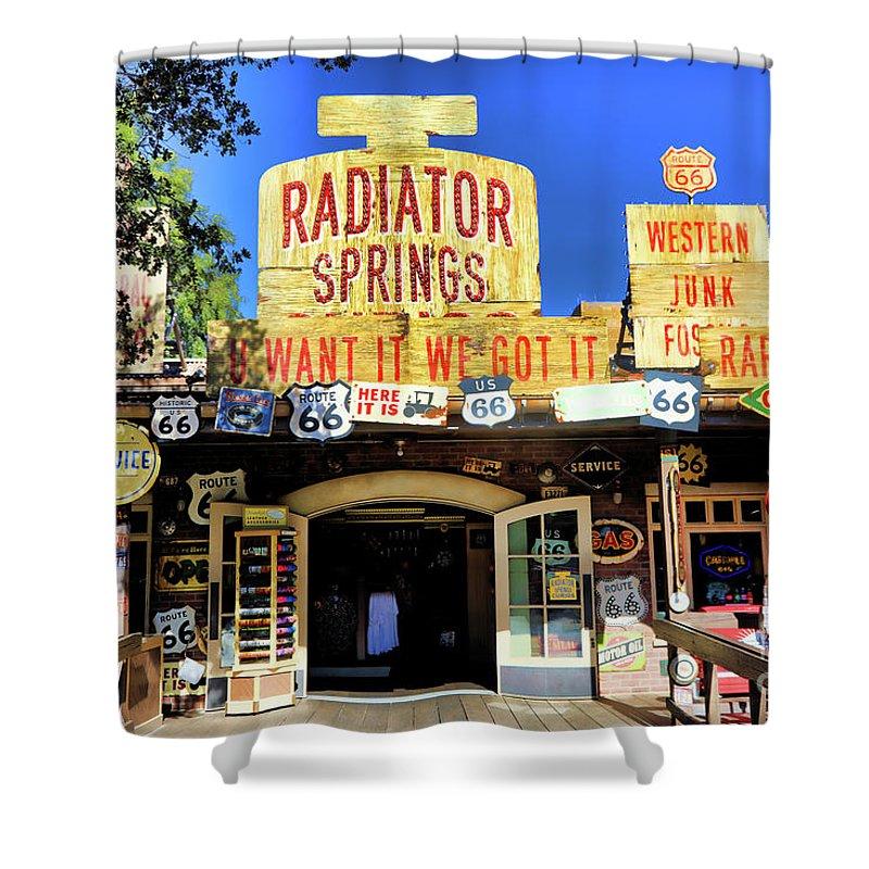 California Adventure Shower Curtain featuring the photograph Western Junk Shop California Adventure by Chuck Kuhn