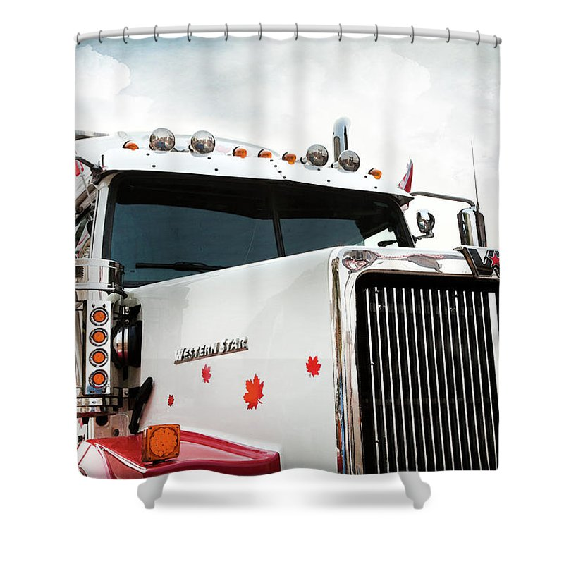 Trucks Shower Curtain Featuring The Photograph Western Star Out Of Canada By Theresa Tahara