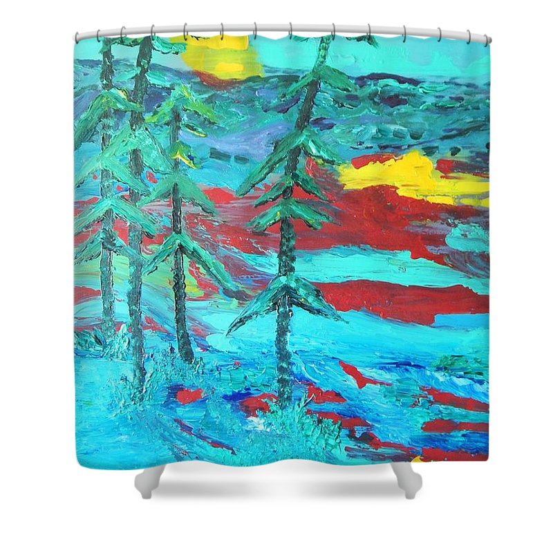 Landscape Teal Blue Mountains Pine Tree Shower Curtain featuring the painting Western Sunset by Lorenz Brochert