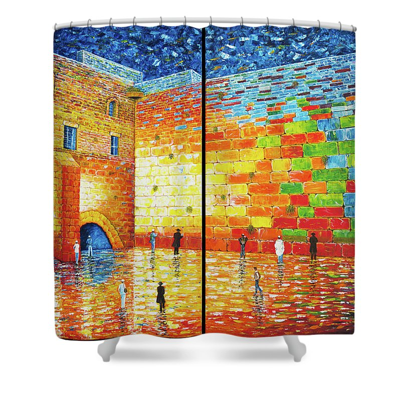 Western Wall Shower Curtain Featuring The Painting Jerusalem Wailing Acrylic 2 Panels
