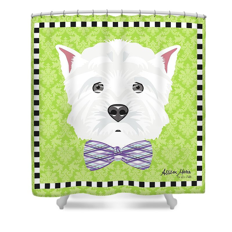 Westie Shower Curtain featuring the digital art Westie by Allison Marie