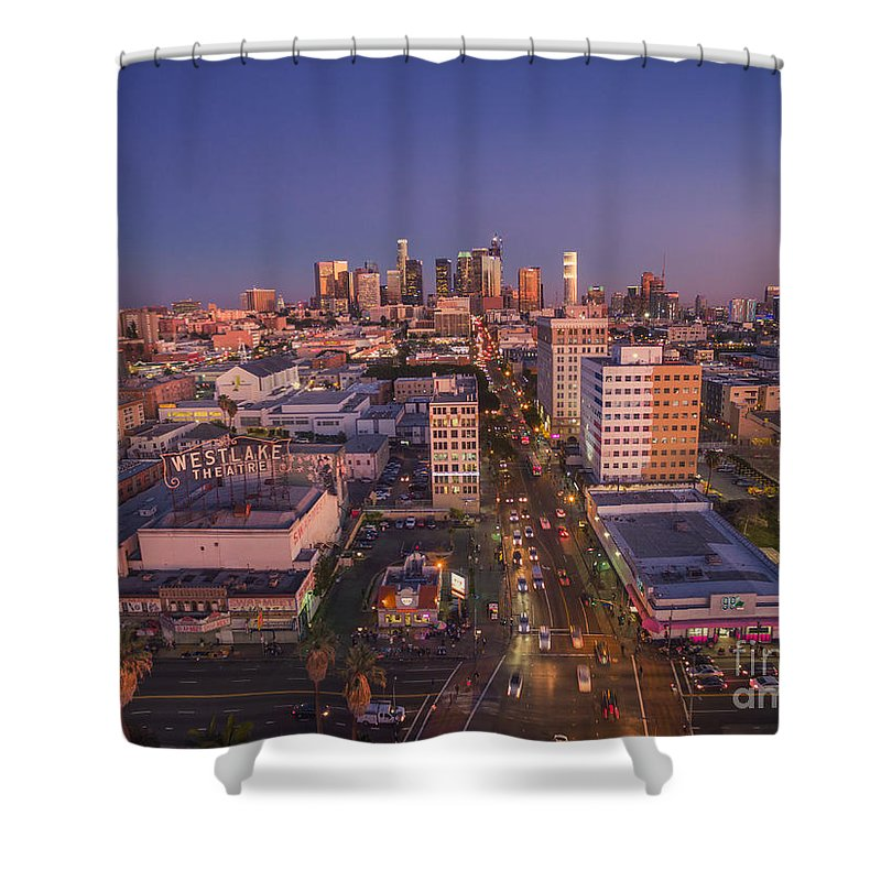 Los Angeles Shower Curtain featuring the photograph Westlake Los Angeles Aerial by Konstantin Sutyagin