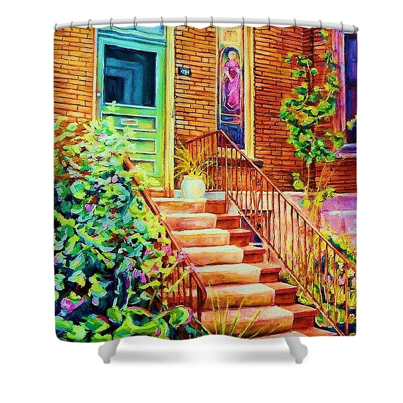 Westmount Home Shower Curtain featuring the painting Westmount Home by Carole Spandau