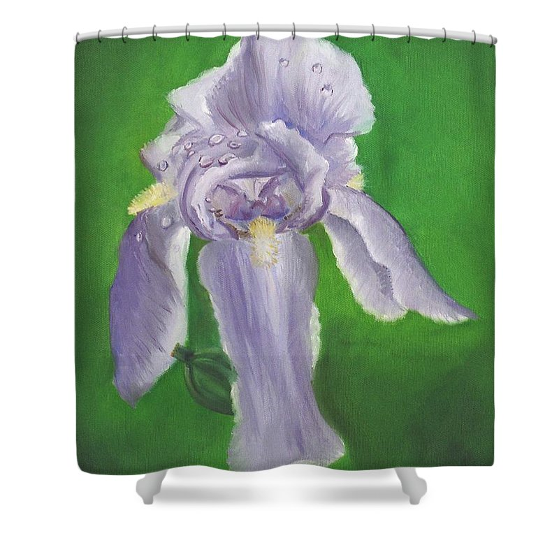 Iris Shower Curtain featuring the painting Wet Iris by Mendy Pedersen
