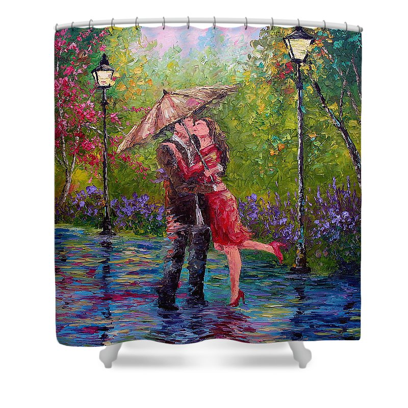 Kiss Shower Curtain featuring the painting Wet Kiss by David G Paul