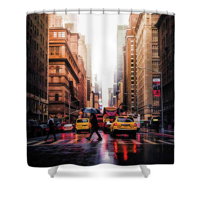 New York Shower Curtain featuring the painting Wet Streets Of New York City by Christopher Arndt