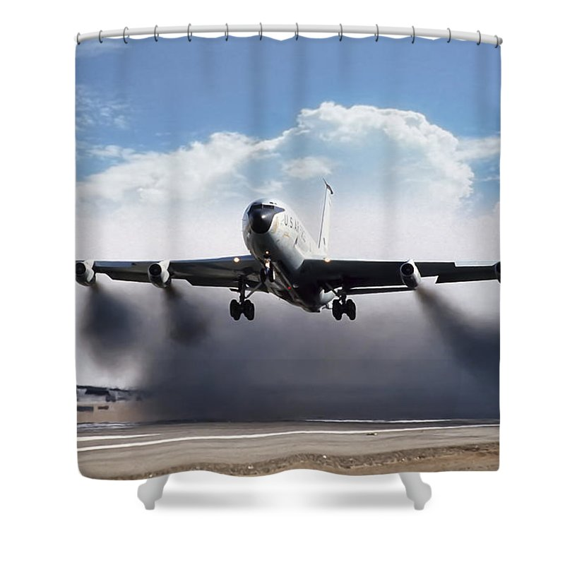 Aviation Shower Curtain Featuring The Digital Art Wet Takeoff Kc 135 By Peter Chilelli