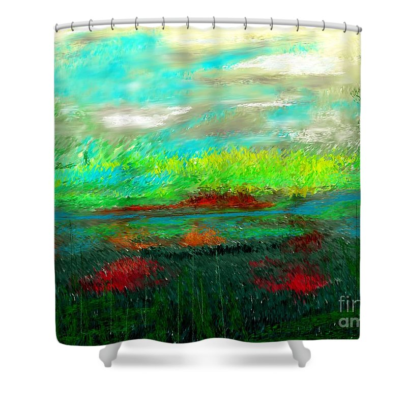 Nature Shower Curtain featuring the digital art Wetlands by David Lane