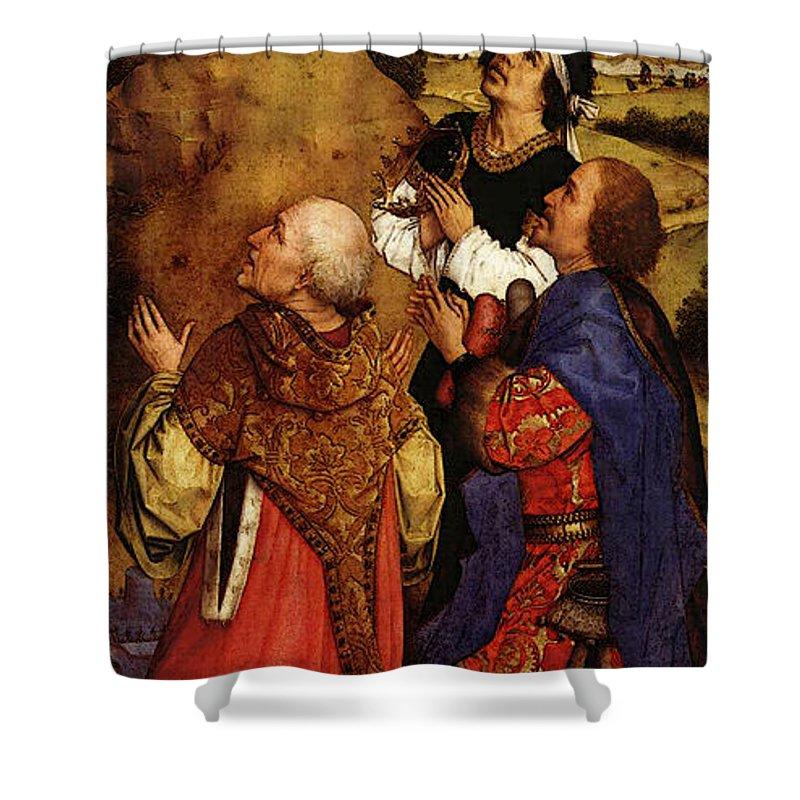 Weyden Bladelin Triptych Right Wing Shower Curtain featuring the digital art Weyden Bladelin Triptych Right Wing by PixBreak Art