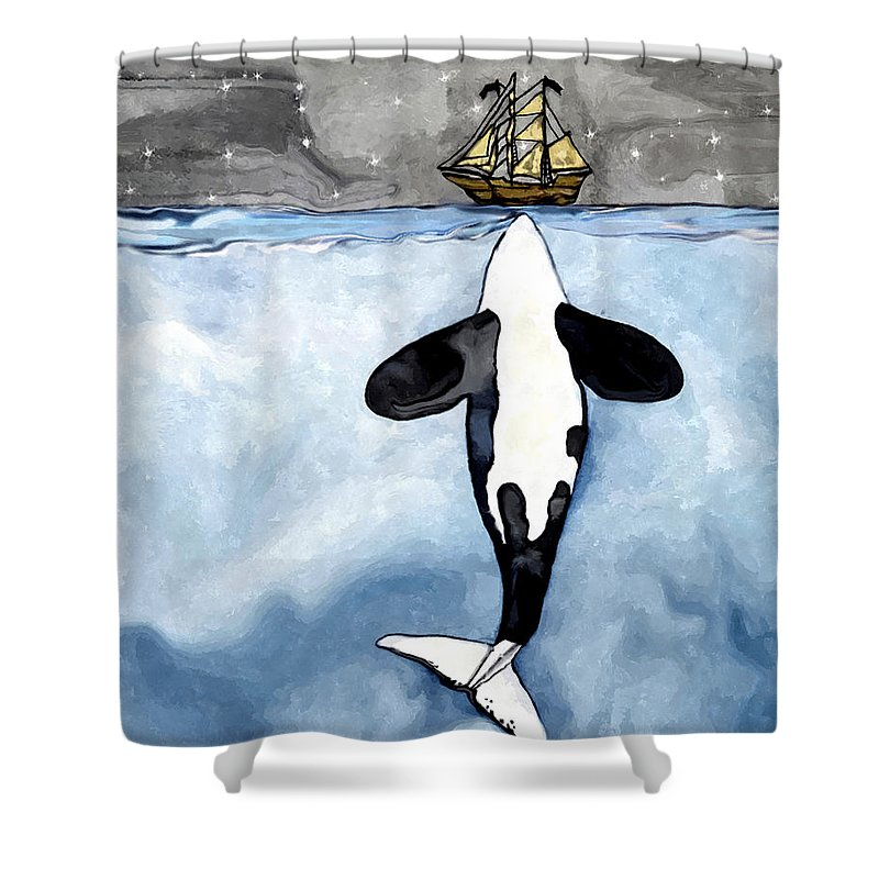Orca Whale Shower Curtain Featuring The Drawing Kisses A Boat By Midex Planet