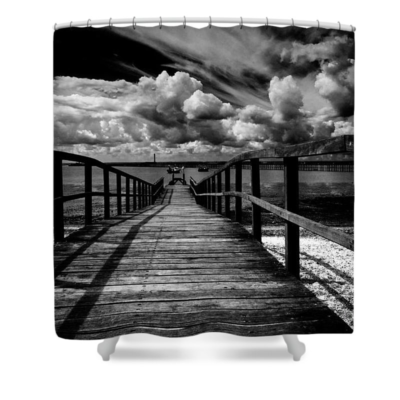 Southend On Sea Wharf Clouds Beach Sand Shower Curtain featuring the photograph Wharf At Southend On Sea by Sheila Smart Fine Art Photography