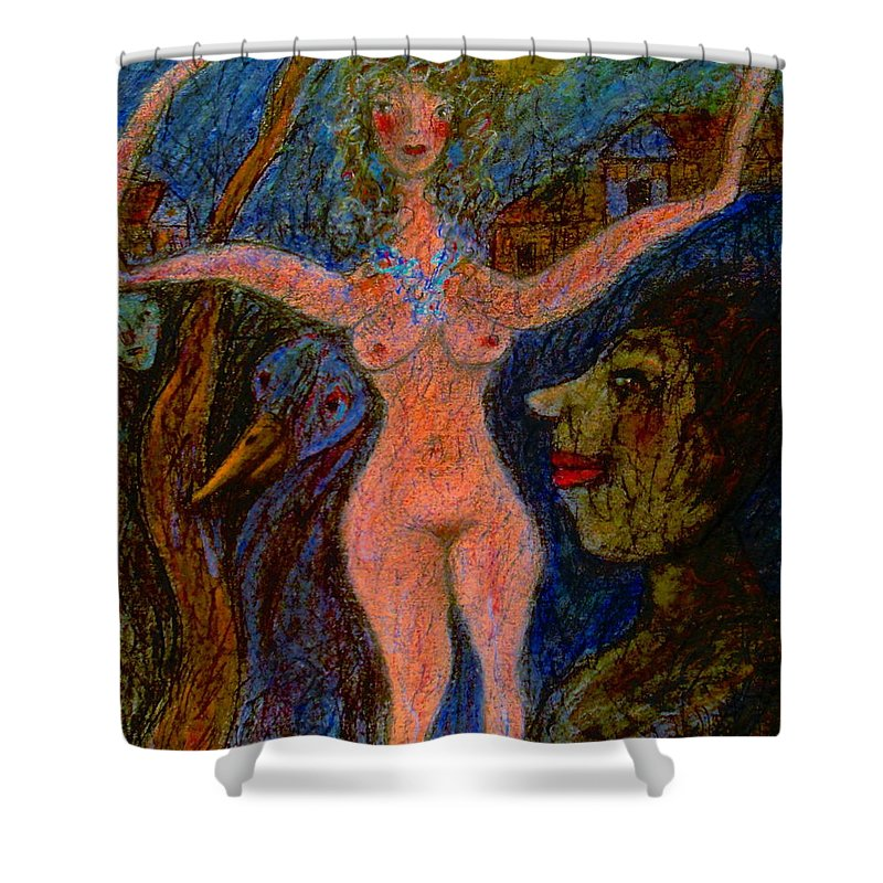 Nudes Shower Curtain featuring the painting What Are You Looking At-11 by Natalie Holland