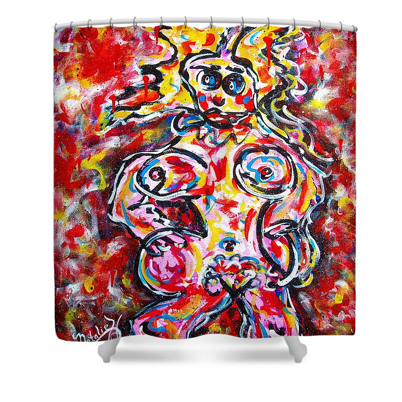Abstracts Shower Curtain featuring the painting What Are You Looking At by Natalie Holland