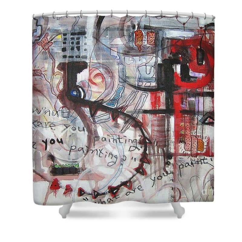 Abstract Paintings Shower Curtain featuring the painting What Are You Painting-red And Brown Painting by Seon-Jeong Kim