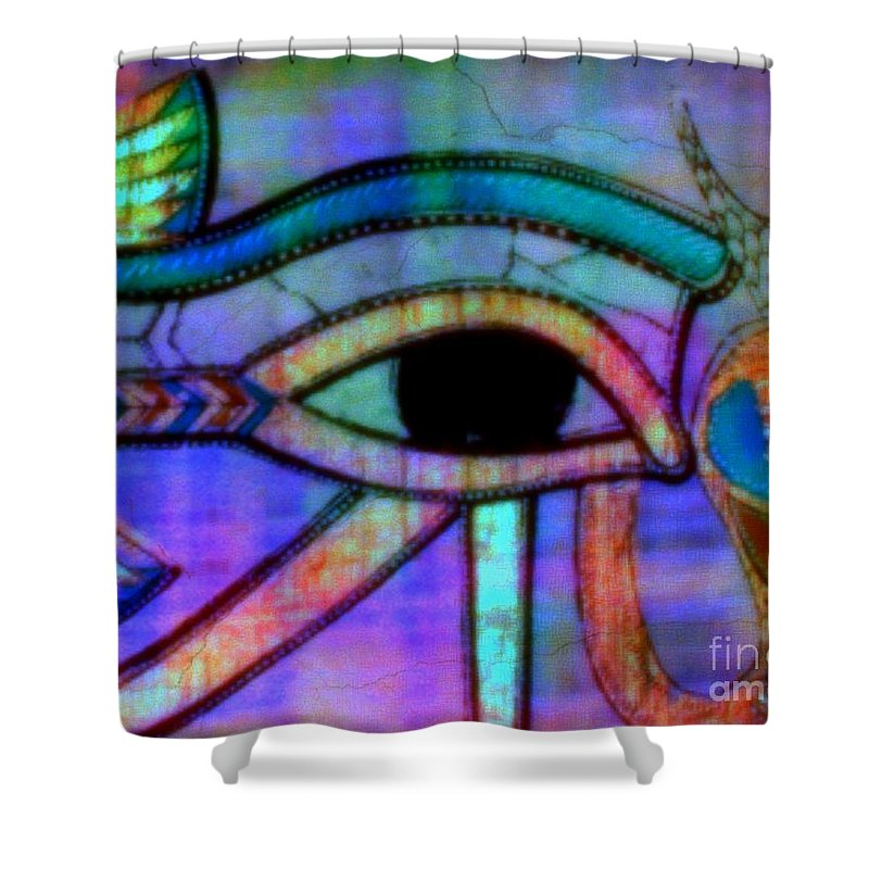Egyptian Shower Curtain featuring the painting What Dreams May Come by Wbk