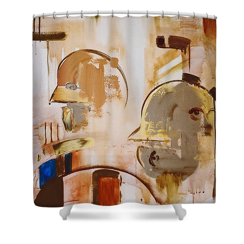 Abstract Shower Curtain featuring the painting What Is Identity by Stephen Lucas