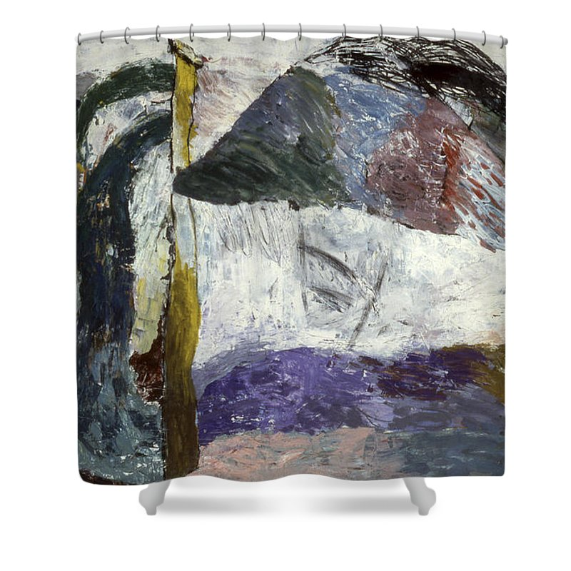 Mixed Media On Paper Shower Curtain featuring the painting What Is It? It Is A ... by Richard Baron