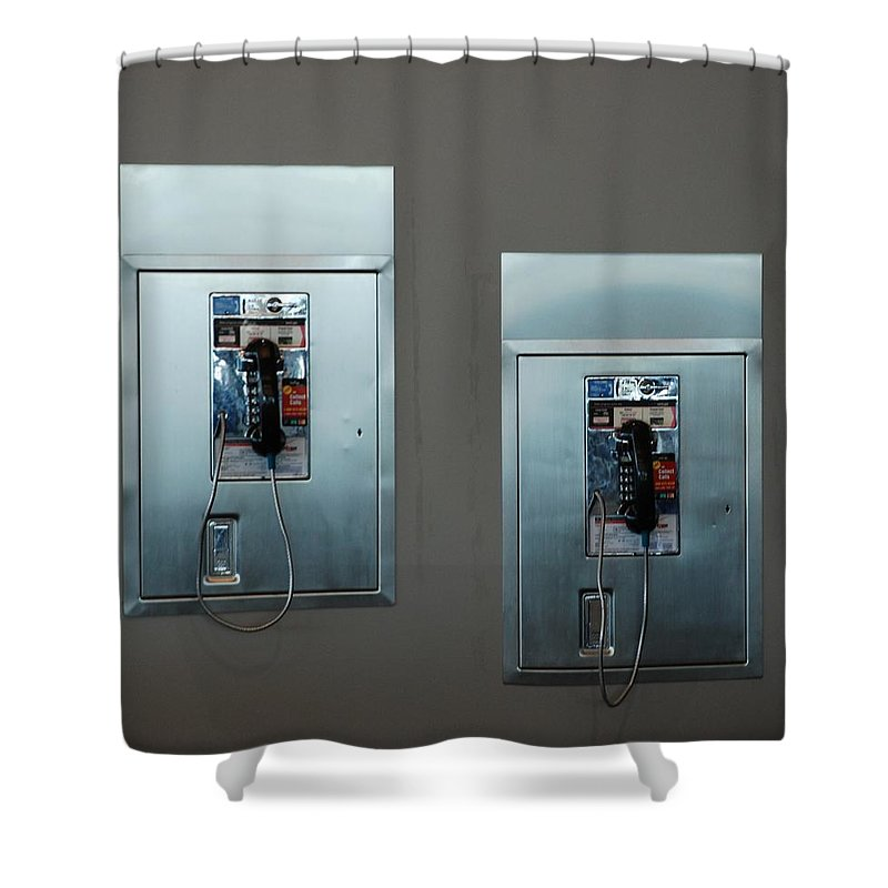 Pay Phones Shower Curtain featuring the photograph What Is That Dad .... Why It Is A Pay Phone Son by Rob Hans