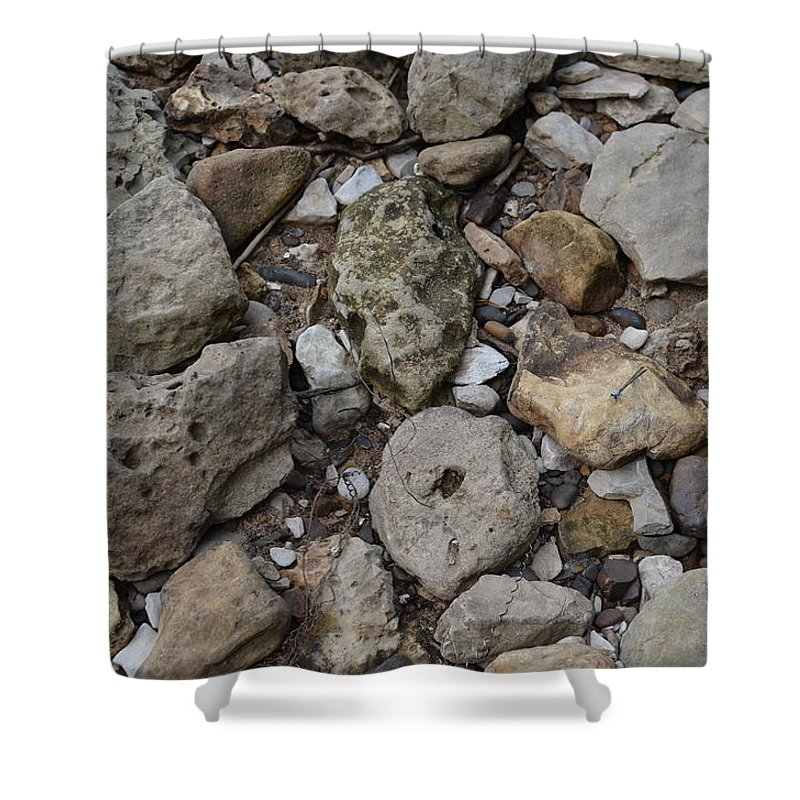 River Rock Shower Curtain featuring the photograph What The Tide Brings In by Tammy Mutka