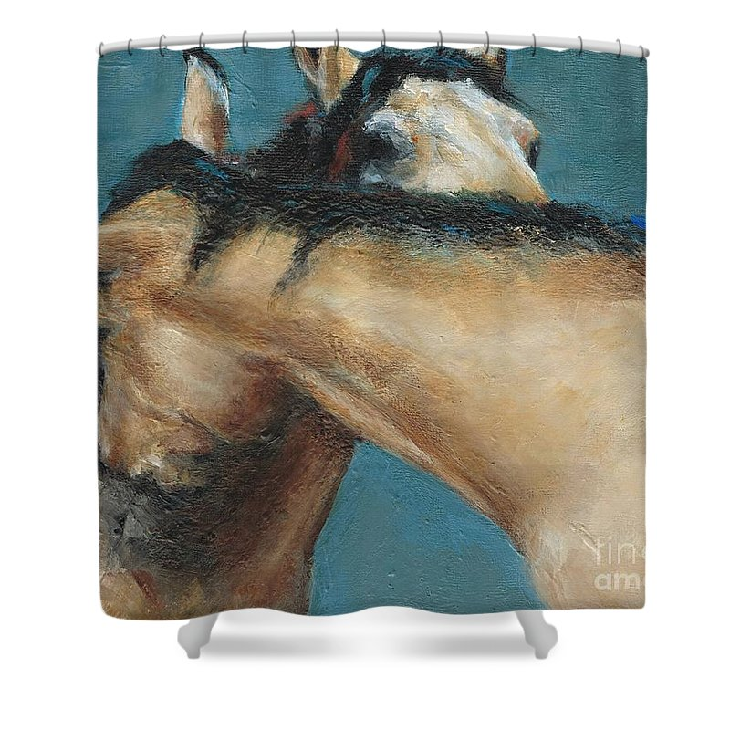Horses Shower Curtain featuring the painting What We Can All Use A Little Of by Frances Marino