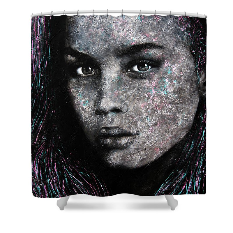 Pop Shower Curtain featuring the painting Whats My Name by Lili Leonardo