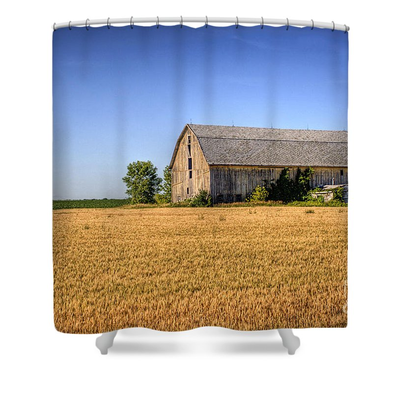 Barn Shower Curtain featuring the photograph Wheat Field Barn by Joel Witmeyer