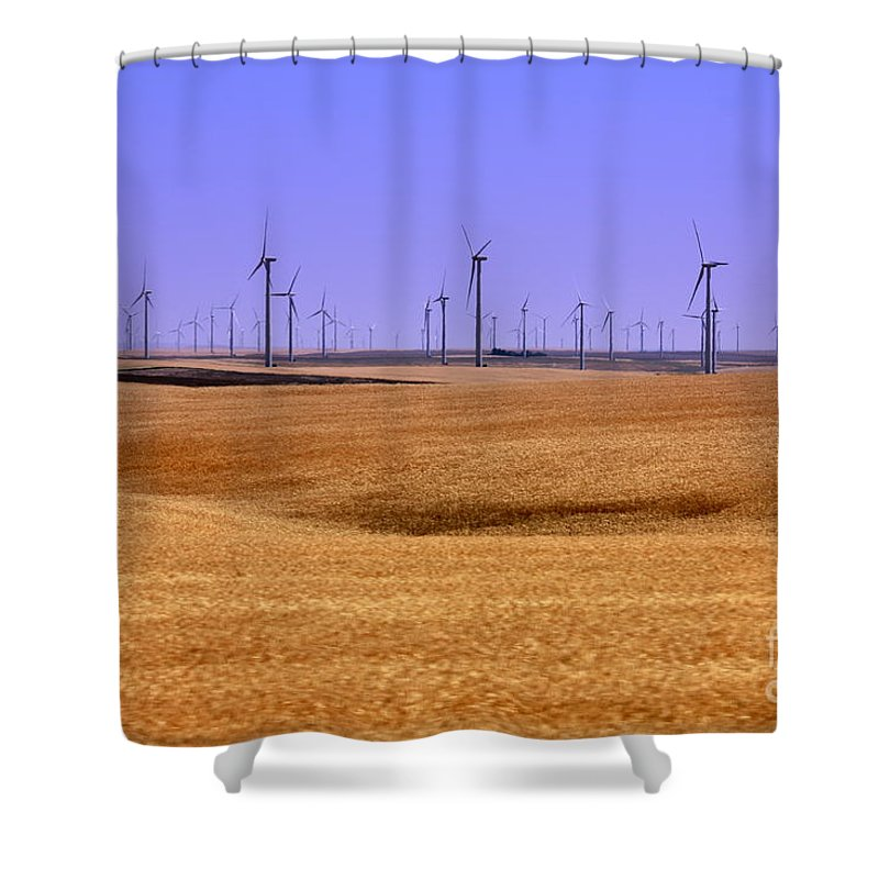 Wind Turbines Shower Curtain featuring the photograph Wheat Fields And Wind Turbines by Carol Groenen