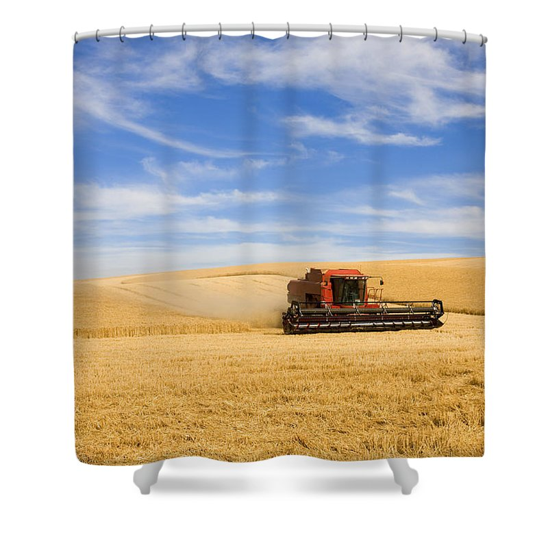 Combine Shower Curtain Featuring The Photograph Wheat Harvest By Mike Dawson
