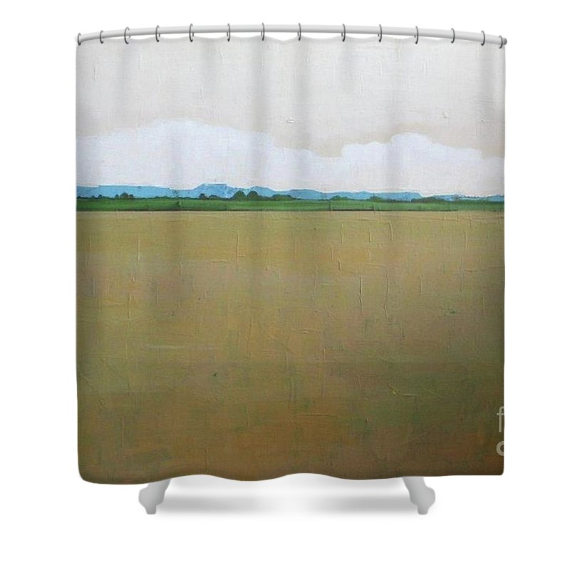 Landscape Shower Curtain Featuring The Painting Wheat Harvest By Vesna Antic