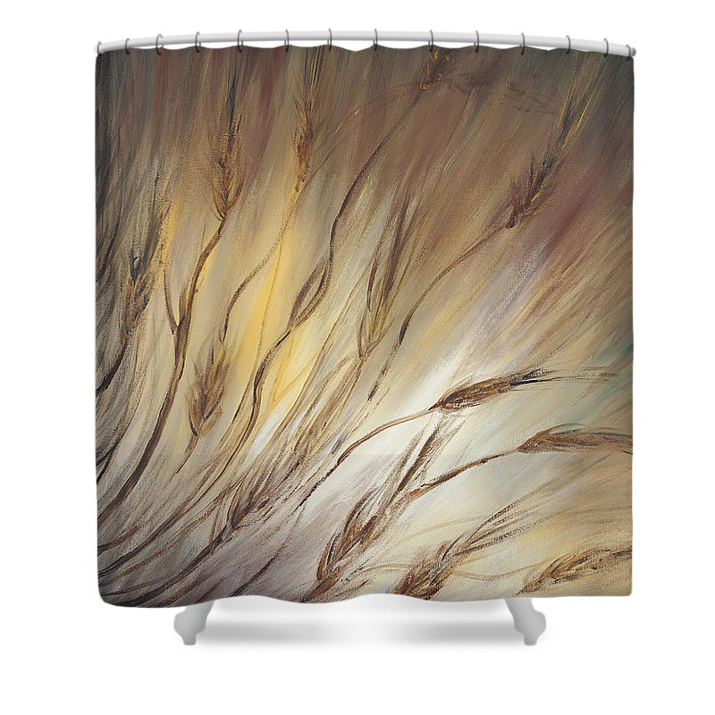 Wheat Shower Curtain featuring the painting Wheat In The Wind by Nadine Rippelmeyer