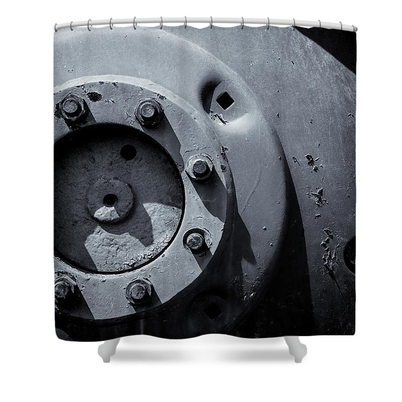Vehicle Wheel Shower Curtain featuring the photograph Wheel Bolts In Metal by John Williams