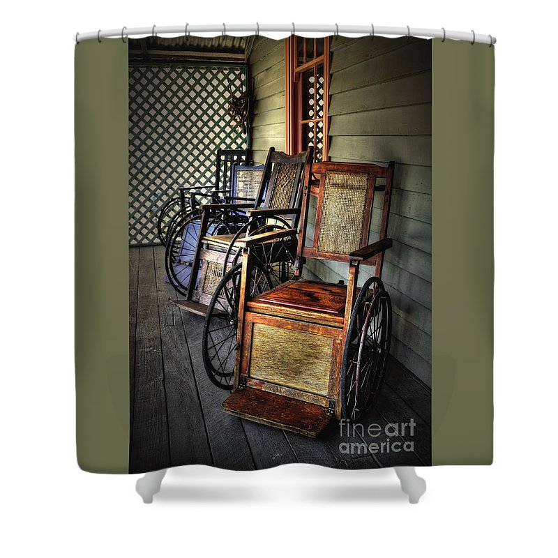 Photography Shower Curtain featuring the photograph Wheelchairs Of Yesteryear By Kaye Menner by Kaye Menner