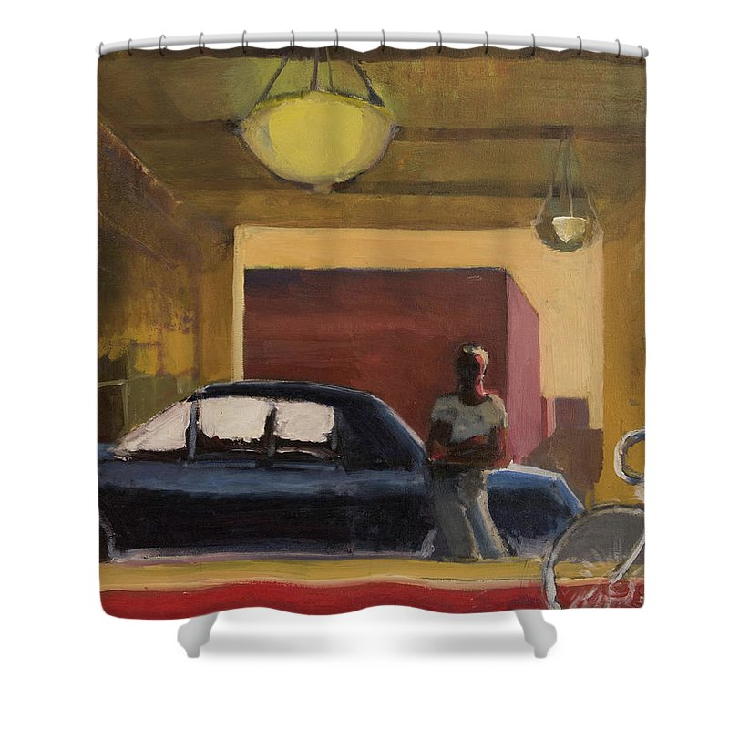 City Shower Curtain featuring the painting Wheels In The City by Craig Newland