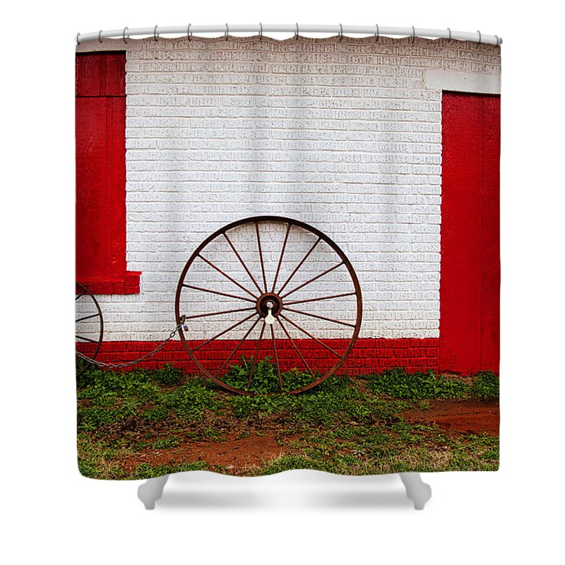 Wheels Shower Curtain featuring the photograph Wheels Ready by Toni Hopper