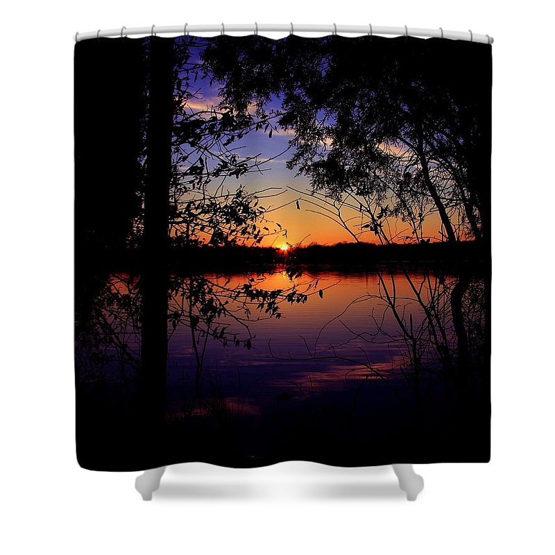 Nature Sunset Lake Darkness Shadows Sun Sky Reflection Shower Curtain featuring the photograph When Darkness Comes by Mitch Cat