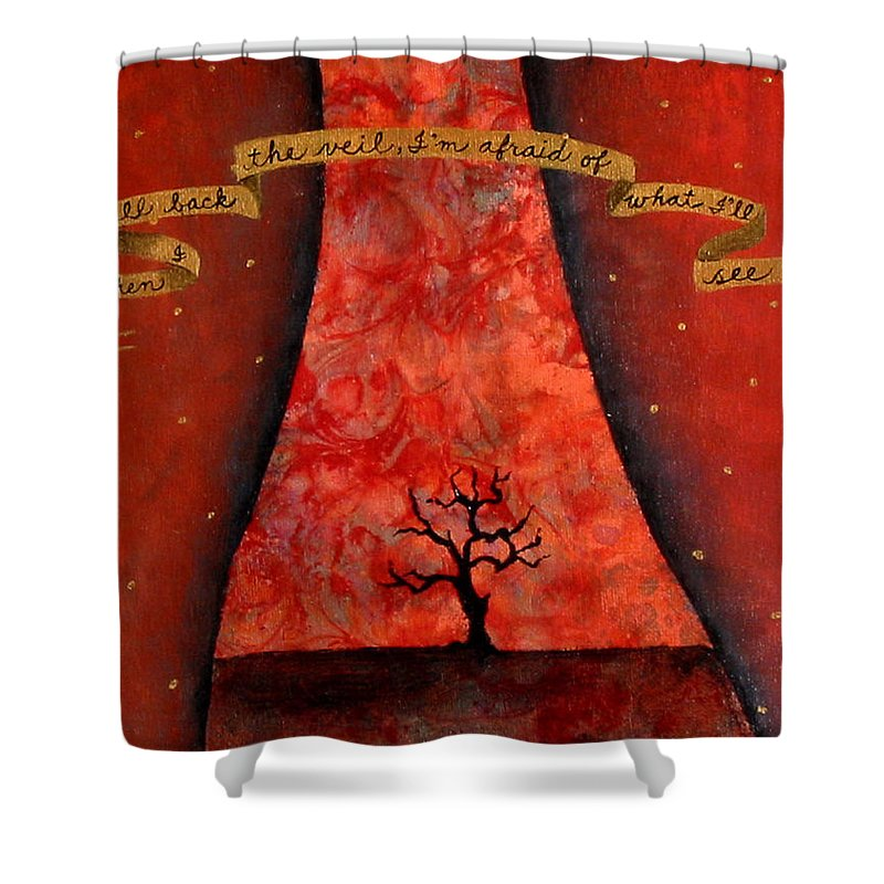 Landscape Shower Curtain featuring the painting When I Pull Back The Veil by Pauline Lim