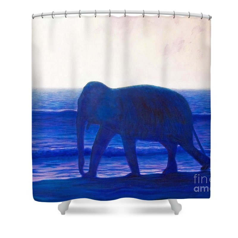 Elephant Shower Curtain featuring the painting When I Was Young by Brian Commerford