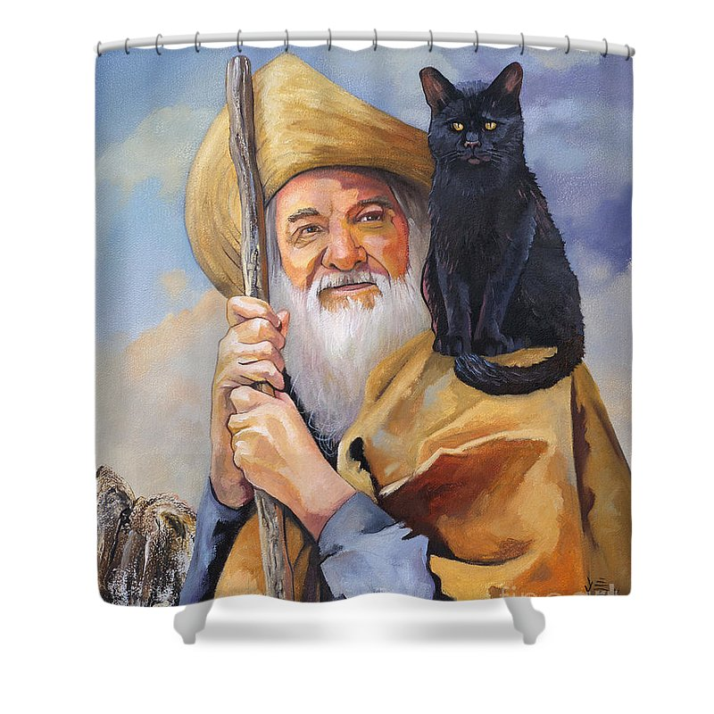 Wizard Shower Curtain featuring the painting When In Doubt Turn Left by J W Baker