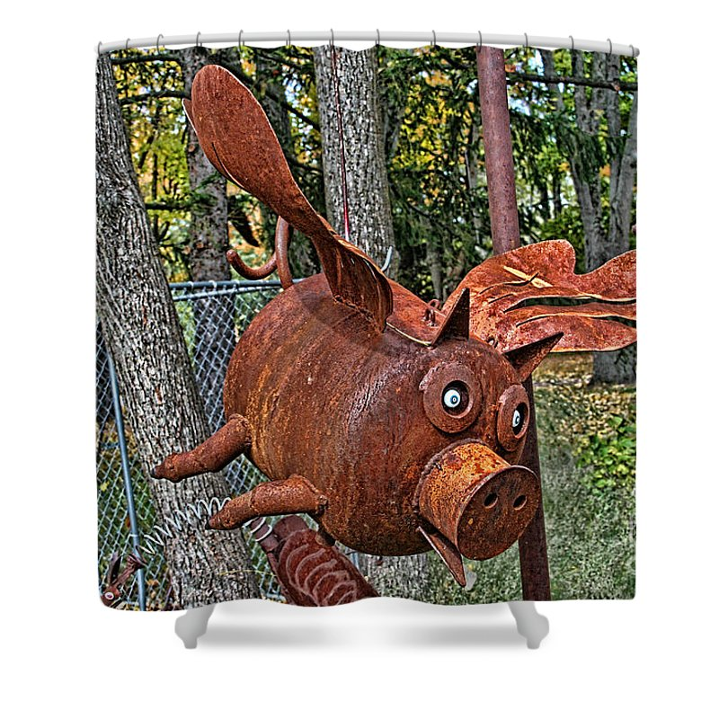Jurustic Park Shower Curtain featuring the photograph When Pigs Fly by Tommy Anderson