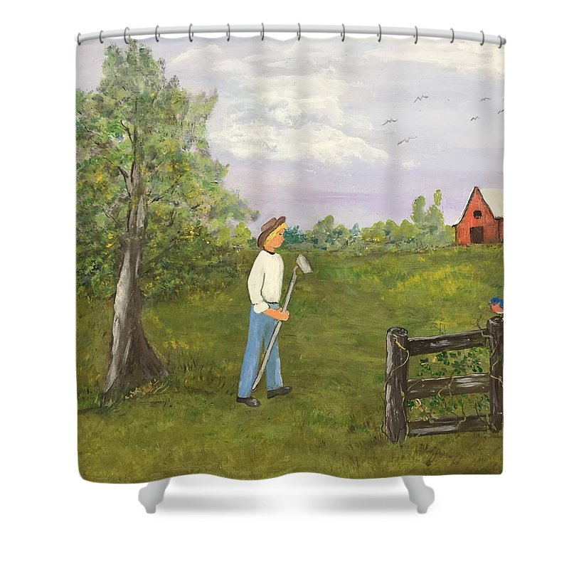 Barn Shower Curtain featuring the painting When The Birds Return by Evelyn Skinner