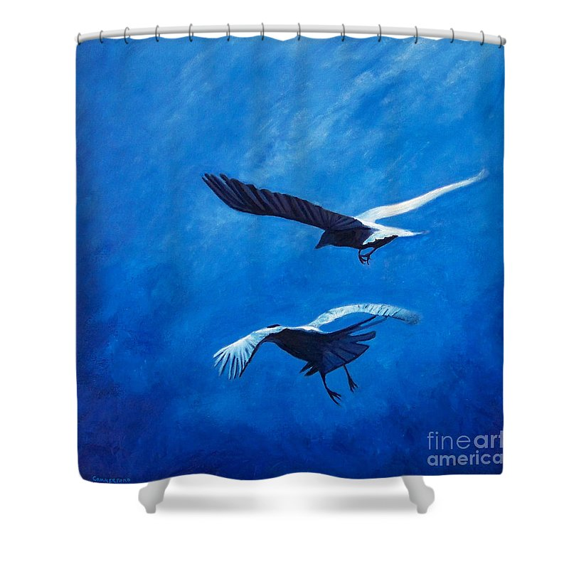 Birds Shower Curtain featuring the painting When The Light Comes by Brian Commerford