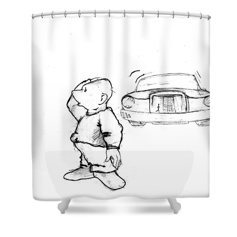 Man Shower Curtain featuring the drawing Where I Am... by Line Gagne