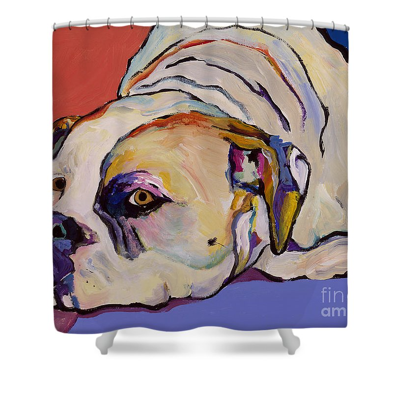 American Bulldog Shower Curtain featuring the painting Where Is My Dinner by Pat Saunders-White