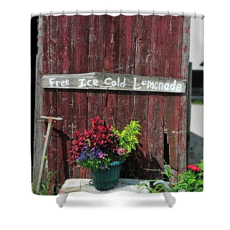 Sign Shower Curtain featuring the photograph Where Is The Lemonade by David Arment