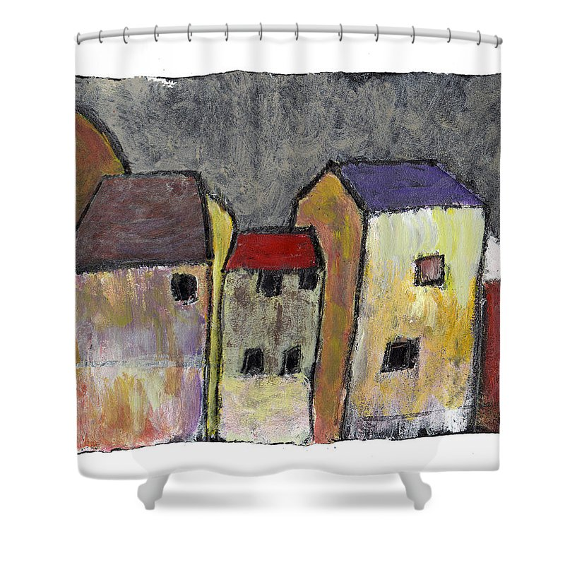 Buildings Shower Curtain featuring the painting Where Once There Was by Wayne Potrafka
