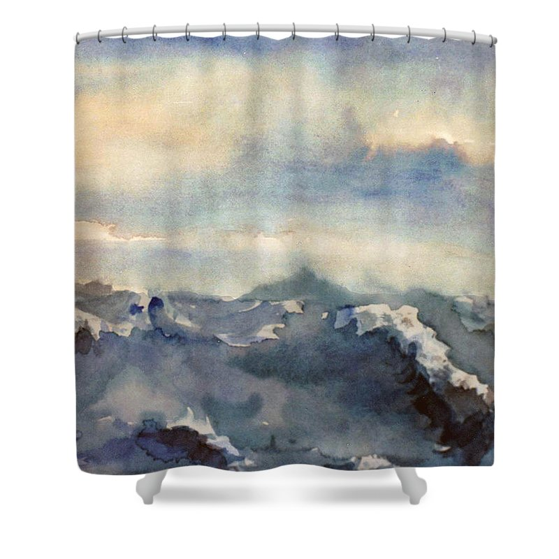 Seascape Shower Curtain featuring the painting Where Sky Meets Ocean by Steve Karol
