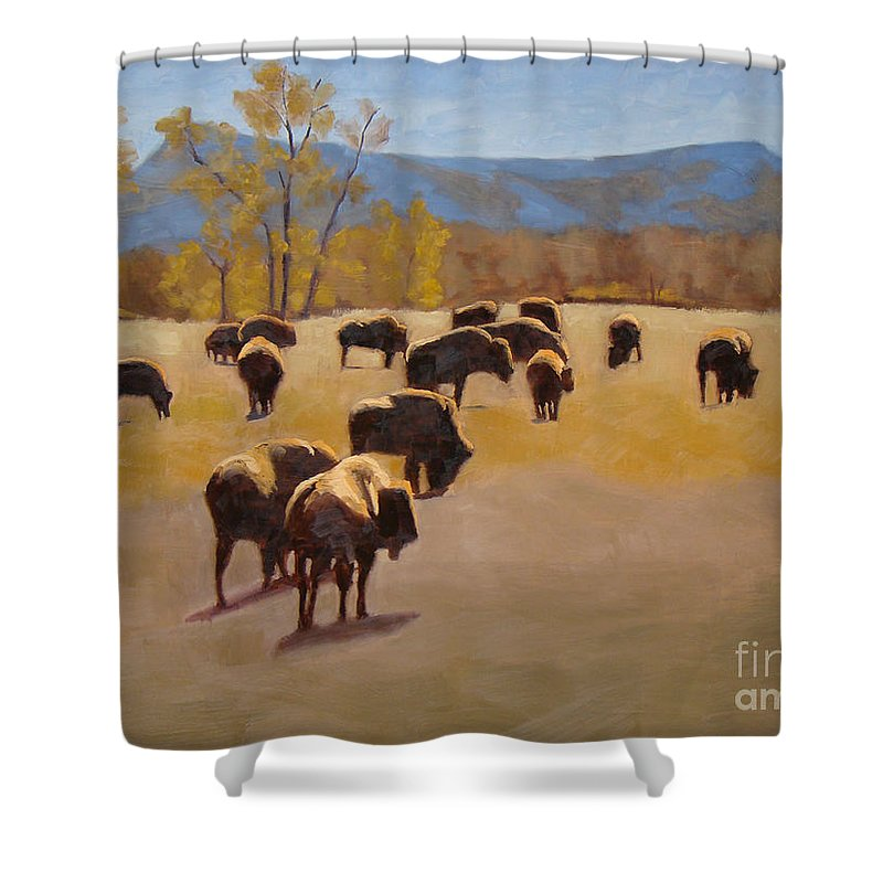 Buffalo Shower Curtain featuring the painting Where The Buffalo Roam by Tate Hamilton
